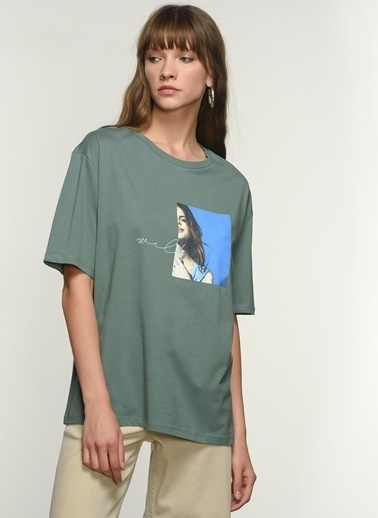 NGSTYLE NGKAW21TS0004 Baskılı Oversize Tshirt Yeşil